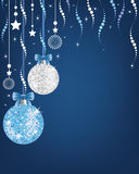 christmas background  with shiny disco balls and ornaments. Royalty Free Stock Photo