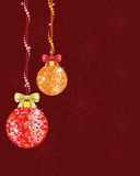 Christmas background with shiny disco balls, snowflakes and bows. Royalty Free Stock Photos