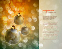 Christmas Background with Shiny Globes. And Sparkling Lights | Greeting for Poems | Layered EPS10 Background Royalty Free Stock Image