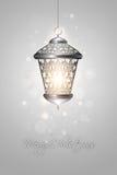 Christmas background with shiny lantern Stock Photo