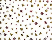 Christmas background. Shiny sequins on a white background. Stock Photo