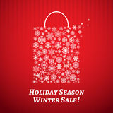 Christmas background with a shopping bag from snowflakes. Christmas background with a shopping bag from white snowflakes on red striped background Stock Photography