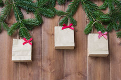 Christmas background with shopping bags Royalty Free Stock Photo