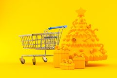 Christmas background with shopping cart royalty free illustration