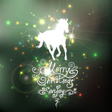 Christmas background with a silhouette of horse Stock Image