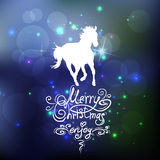 Christmas background with a silhouette of horse Stock Photos