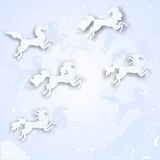 Christmas background. With silhouettes of horses Stock Photos