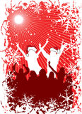 Christmas background with silhouettes, vector Stock Images
