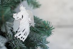 Christmas background Silver Angel in the branches of fir stock photos