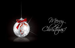 Christmas background with silver ball Royalty Free Stock Photography