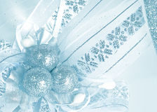 Christmas background. Silver christmas balls on blanch decorative background royalty free stock image