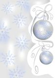 Christmas background with silver balls and snowflakes Stock Photo