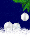 Christmas background with silver balls, snowflakes and spruce Royalty Free Stock Images