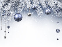 Christmas background. With silver balls. Vector paper illustration Royalty Free Stock Images