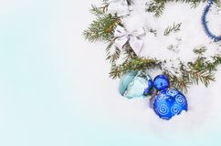 Christmas background with silver and blue baubles royalty free stock photo