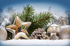 Christmas background with silver decoration. royalty free stock photos