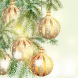 Christmas background with silver and golden baubles Royalty Free Stock Image