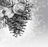 Christmas background with silver knob Royalty Free Stock Photo