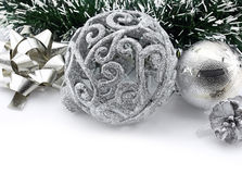 Christmas background with a silver ornament Royalty Free Stock Photo