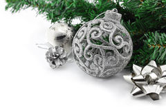 Christmas background with a silver ornament Royalty Free Stock Image