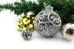 Christmas background with a silver ornament Stock Photos