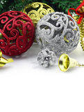 Christmas background with a silver and red ornament Royalty Free Stock Photos