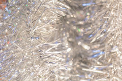 Christmas background of silver tinsel Stock Photography