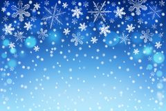 Christmas background with silver and white snowflakes Stock Photos