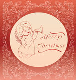 Christmas background with singing angel. Royalty Free Stock Photos