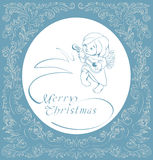 Christmas background with singing angel. Royalty Free Stock Image