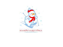 Christmas background. With skiing snowman Royalty Free Stock Photo