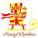 Christmas background with sledge and gifts Royalty Free Stock Images