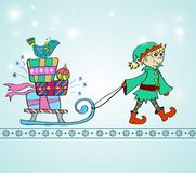 Christmas background with sledge, gifts and gnome Stock Photo