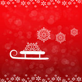 Christmas background, sledge and snowflake Royalty Free Stock Images