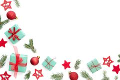 Christmas Background With Small Christmas Gifts, Balls, Stars An royalty free stock image