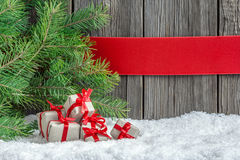 Christmas background with small gifts Royalty Free Stock Photos