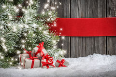 Christmas background with small gifts Stock Photo
