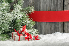 Christmas background with small gifts Stock Photos