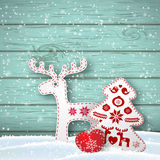 Christmas background, small scandinavian styled decorations in front od blue wooden wall, illustration Stock Image
