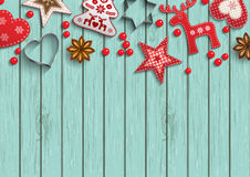 Christmas Background, Small Scandinavian Styled Decorations Lying On Polka Dot Patterned Backdrop, Illustration Royalty Free Stock Photos