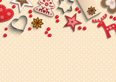 Christmas background, small scandinavian styled decorations lying on polka dot patterned backdrop, illustration. Christmas background, small scandinavian styled vector illustration