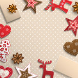 Christmas background, small scandinavian styled decorations lying on polka dot patterned backdrop, illustration Royalty Free Stock Image