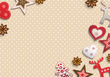 Christmas background, small scandinavian styled decorations lying on polka dot patterned backdrop, illustration Royalty Free Stock Images