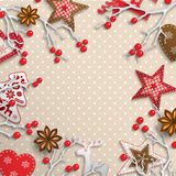 Christmas background, small scandinavian styled decorations lying on polka dot patterned backdrop, illustration. Christmas background, small scandinavian styled stock illustration