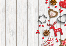 Christmas background, small scandinavian styled decorations lying on white wooden backdrop, illustration Royalty Free Stock Image