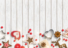 Christmas background, small scandinavian styled decorations lying on white wooden backdrop, illustration Stock Image