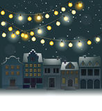 Christmas background with small town Stock Image