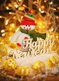 Happy New Year wooden text. Christmas holiday season toy. Royalty Free Stock Images