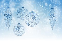 Christmas background with snow and abstract christmas balls Stock Photos