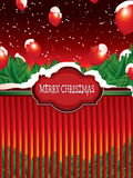 Christmas background with snow and balloons Stock Photography